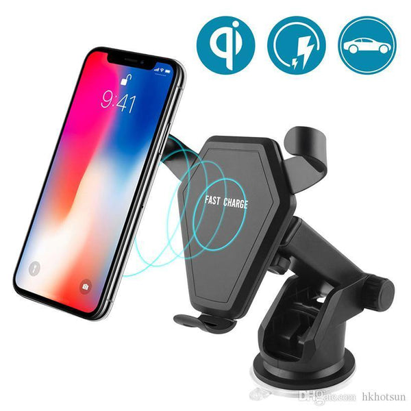 Wireless Car Charger Fast Qi Wireless Stand (Black)