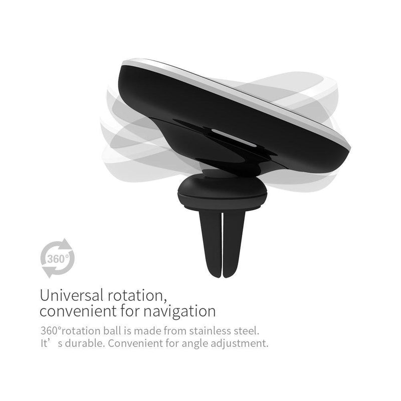 Nillkin 2-in-1 Qi Wireless Car Charging Pad & Magnetic Car Mount Air Vent Holder (Black)
