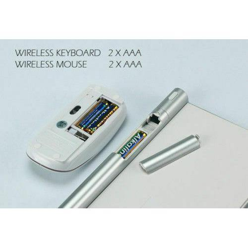 Wireless 2.4Ghz Keyboard Mouse Comb Cordless USB MAC- Model: KD800 (Silver)