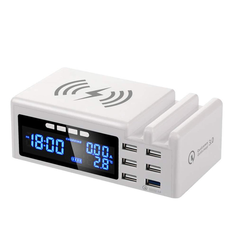 Just Link Wireless Charger 6 Port USB 48W Multi Port USB Fast QI Station- Model: TPL02 (White)