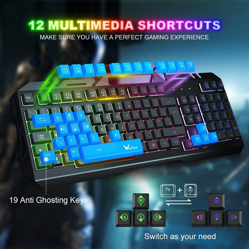 WisFox Colorful Rainbow LED Backlit USB Wired Gaming Keyboard- Model: CE0142_01 (Black)
