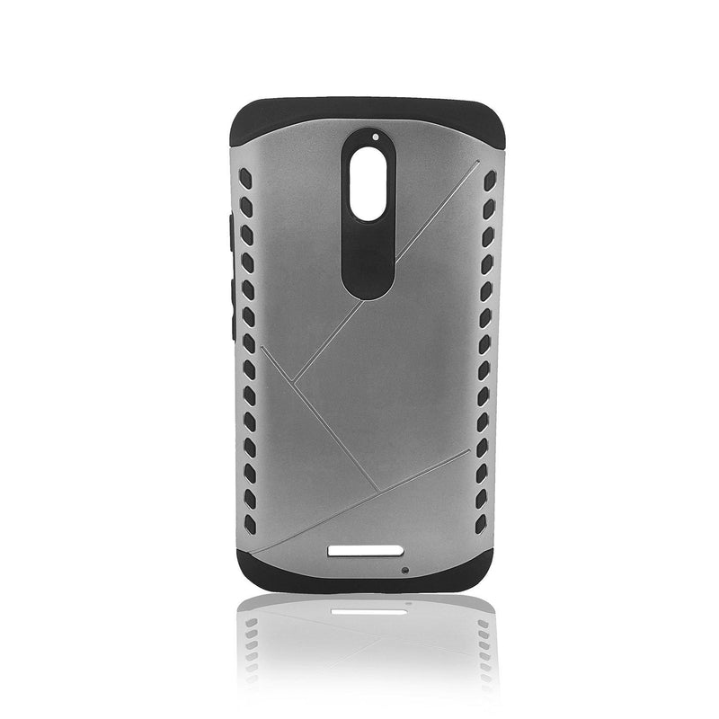Motorola X Force Droid Turbo Rugged Armor Case (Silver)