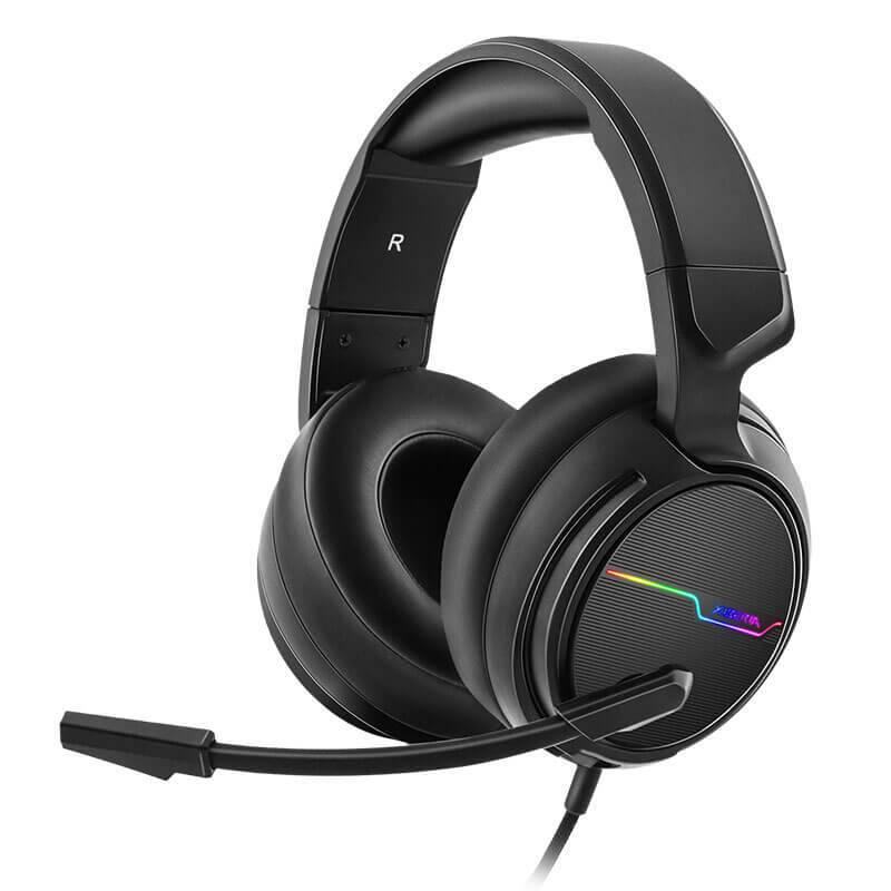 XIBERIA Wired Gaming 7.1 Surround Sound Noise Cancelling Headset With Mic for Host Connection, Laptops, Computer,Mac and Macbook with RGB Light-Model:V20-(Black)