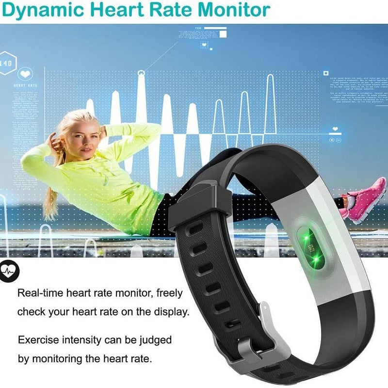 YAMAY Fitness Trackers - Heart Rate Monitor - Pedometer Watch - Activity Trackers Watch - Step Counter with Waterproof IP67 Smart Watches-Model: SW333-(Black)
