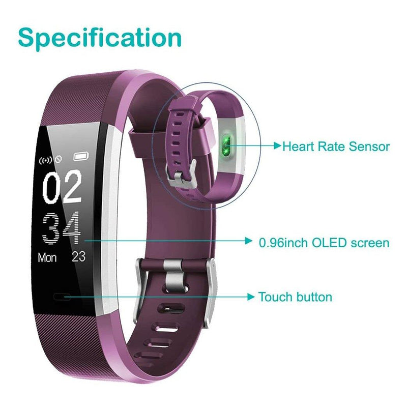 YAMAY Fitness Trackers - Heart Rate Monitor - Pedometer Watch - Activity Trackers Watch - Step Counter with Waterproof IP67 Smart Watches-Model: SW333-(Purple)