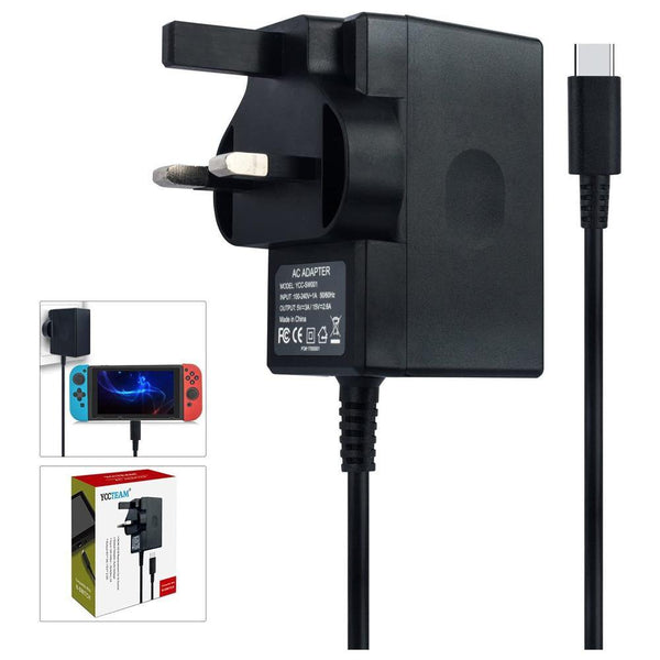YCCTEAM Compatible With N-Switch AC ADAPTER Fast Travel Wall Charger with 5FT USB Type C Cable 15V/2.6A Power Supply,