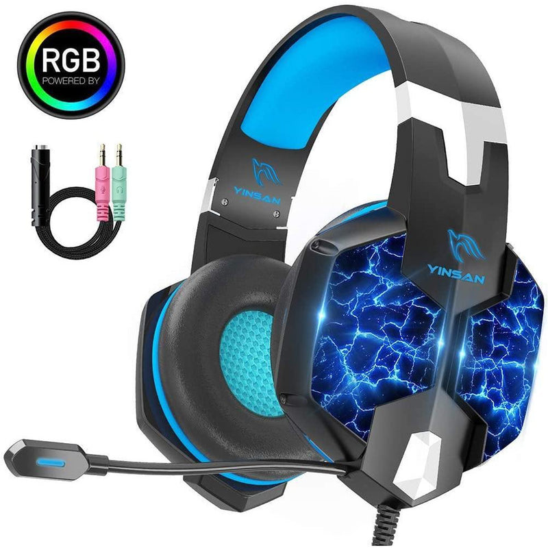 YINSAY Over Ear Gaming Stereo Headphones, For PS4, Xbox One, PC, Nintendo 3DS, PSP, Laptop, Computer, Tablet, Most mobile phone. Model: TM-5 (Blue/Black)