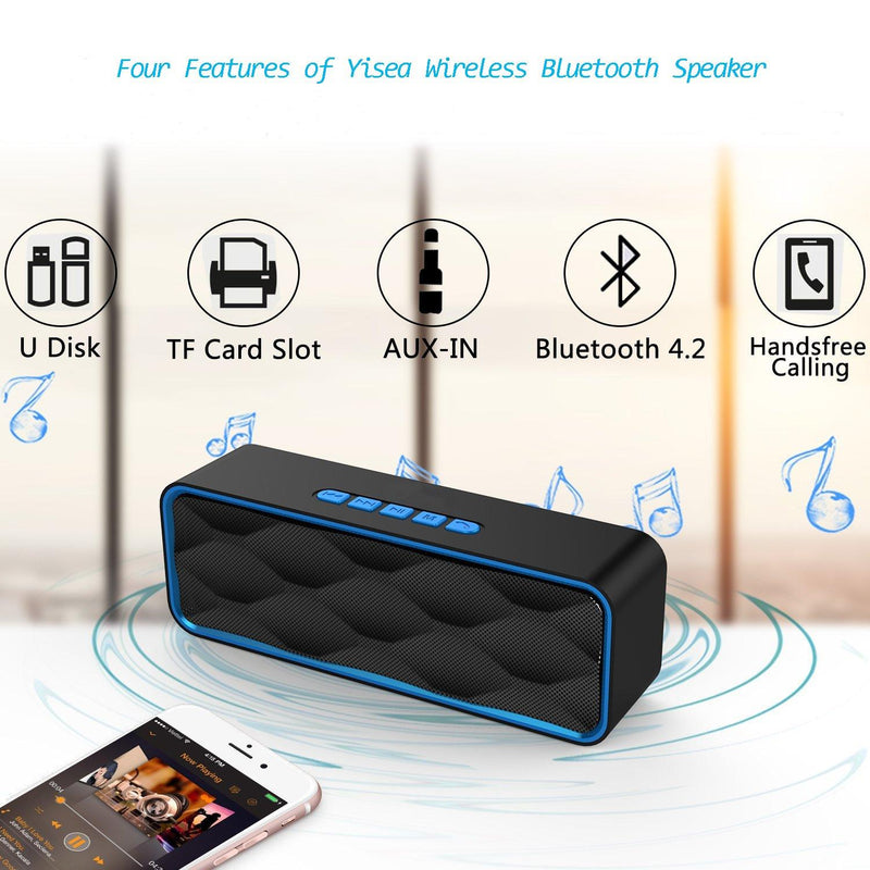 YISEA Bluetooth Speaker Wireless Portable Speaker V4.2 with Mega Bass,(Blue-Black)