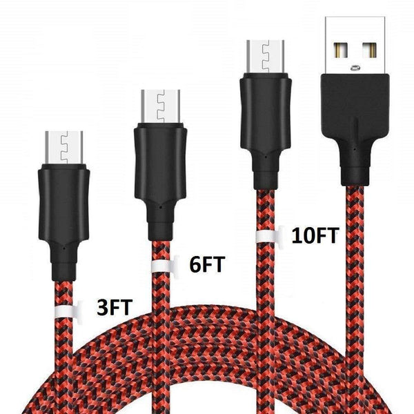 YOSOU Micro USB Cable Android [3-Pack-1m+2m+3m] Nylon Braided USB Cable 2.0 Charging Cable (Red-Black)