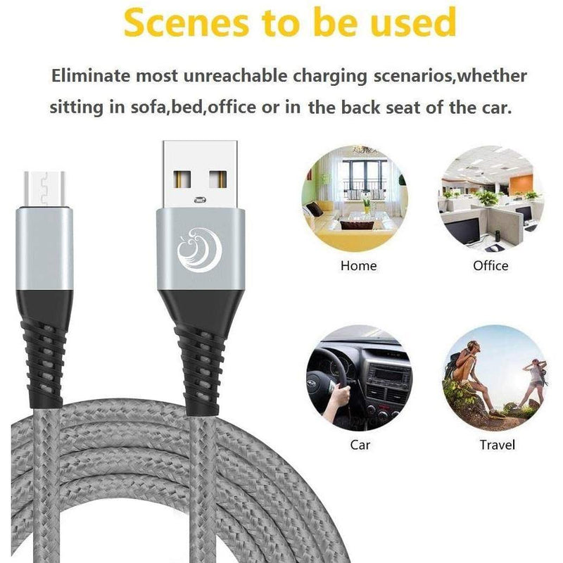 Yosou Nylon Braided Micro USB Cable Android & Sync Fast Charging Cable 2m (3Pack)