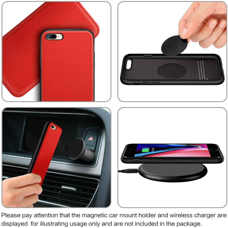 ZOVER Detachable Wallet Case For iPhone -7-8 Plus-(Red) - DealsnLots
