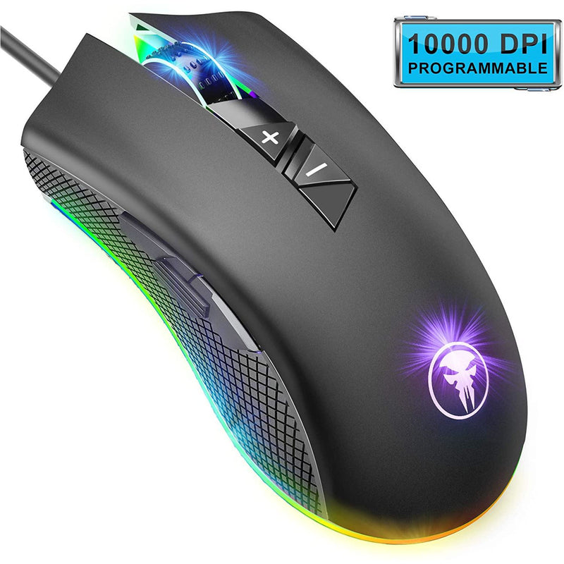 Zodic Gaming Mouse Wired, 10000 DPI, RGB Backlit, 8 Programmable Buttons, with Fire Button Support - Model: M88  (Black)