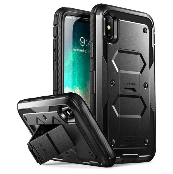 i-Blason Case Designed for iPhone X With Tempered Glass Screen Protector [BLACK] - DealsnLots