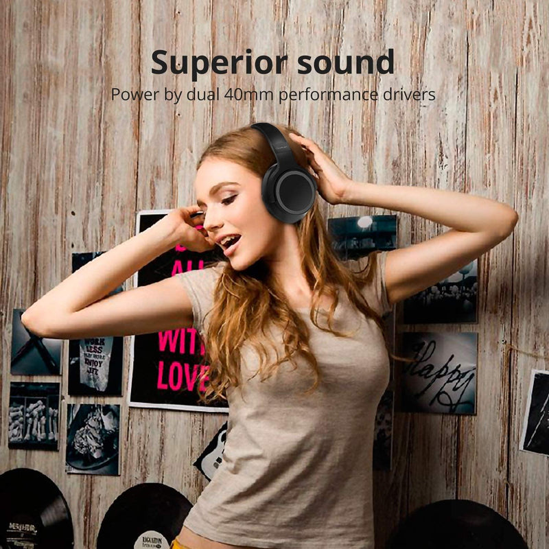 iDeaUSA iDeaPlay Active Noise Cancelling Over-Ear Wireless Headphones Model: V206 (Black)