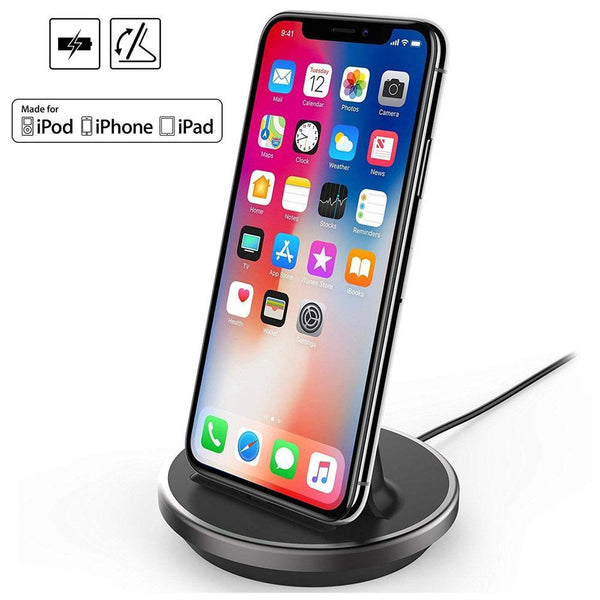 NXET iPhone Charging Dock, Charging Data Sync Stand Holder - (Black)
