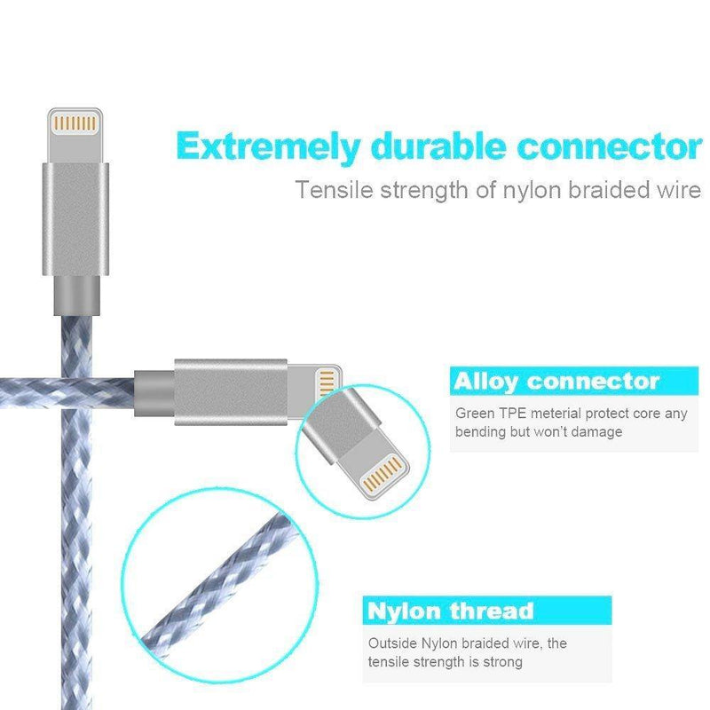iPhone USB to Iphone Cable Syncing and Charging Cable Nylon Braided Cord Charger (Silver) - DealsnLots