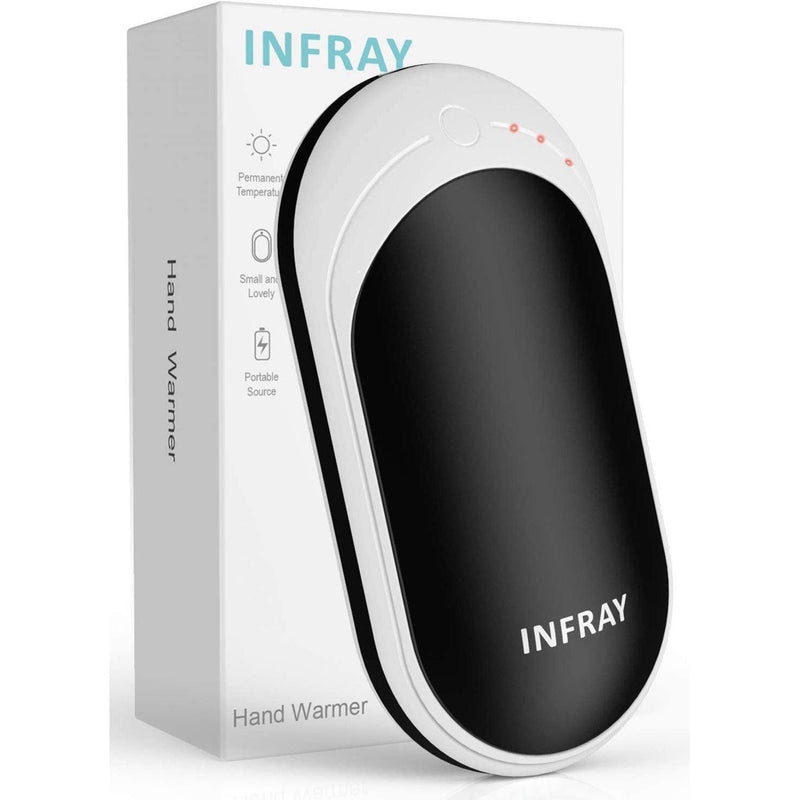 infray hand warmers,Rechargeable 5200mAh Power Bank USB Charger Double Sided Heating Pocket- Model: ZLS-118S (Black/White)