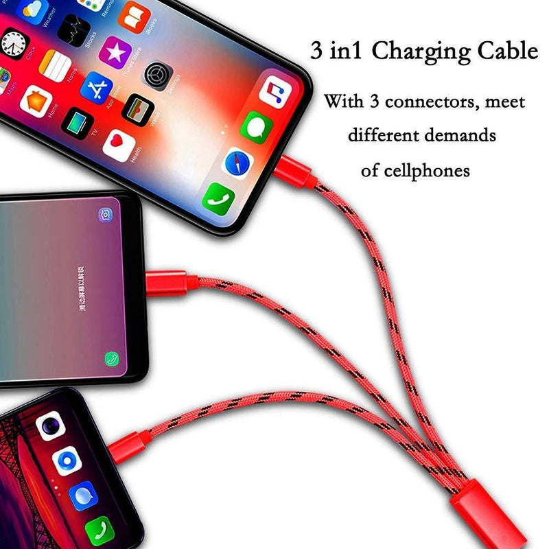 riotech Multi Charging Cable 3 in 1 Nylon Braided USB Fast Charger Cord with Micro USB - Type C - Iphone - (7ft) - (Red)