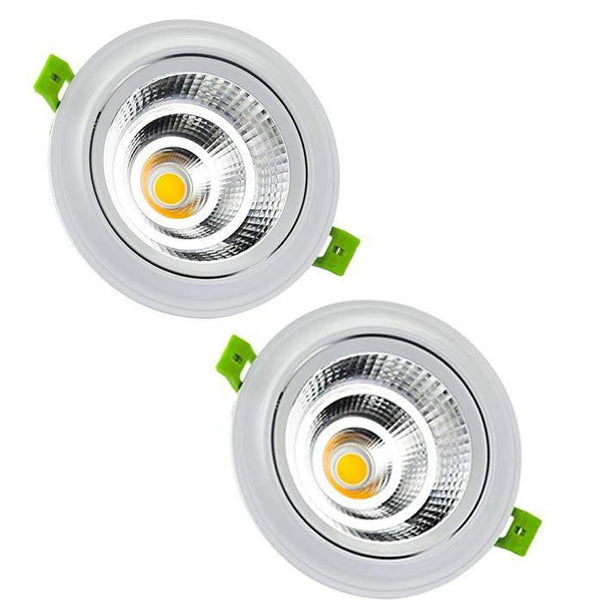 LEDMO 2-Pack Flush Downlight LED Recessed Ceiling Lights Bulbs 18W Each 5.31 inch Model: CL18COB (White)