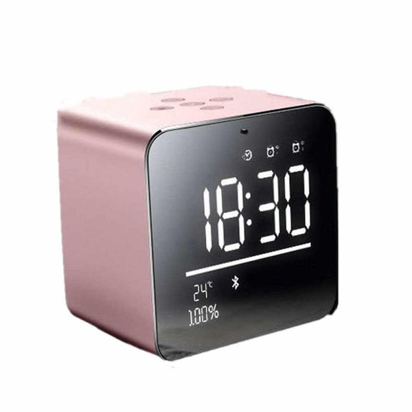 yAyusi V9 Mini Bluetooth V3.0+EDR Speaker Alarm Clock Model : V9 - (Pink) - (SD Card Not Included)