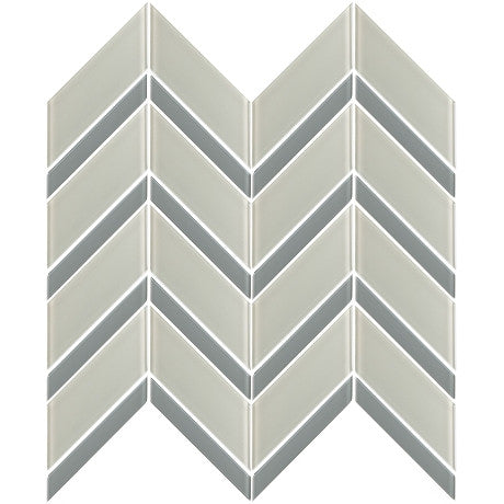 Glass Chevron Light Grey + Grey - Pendulum TILE