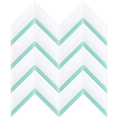 Glass Chevron White + Blue - Pendulum TILE