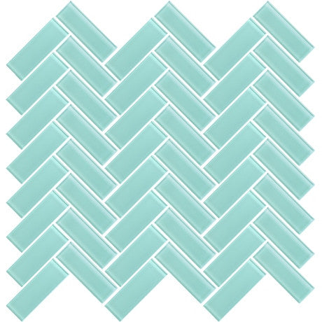 "Glass Herringbone 3"" x 1"" blue - Pendulum TILE"