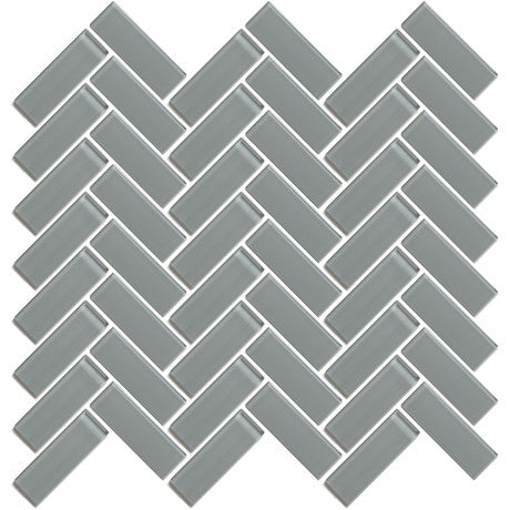 "Glass Herringbone 3"" x 1"" Grey - Pendulum TILE"