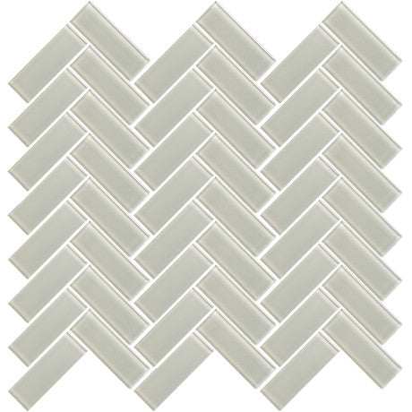 "Glass Herringbone 3"" x 1"" Light Grey - Pendulum TILE"