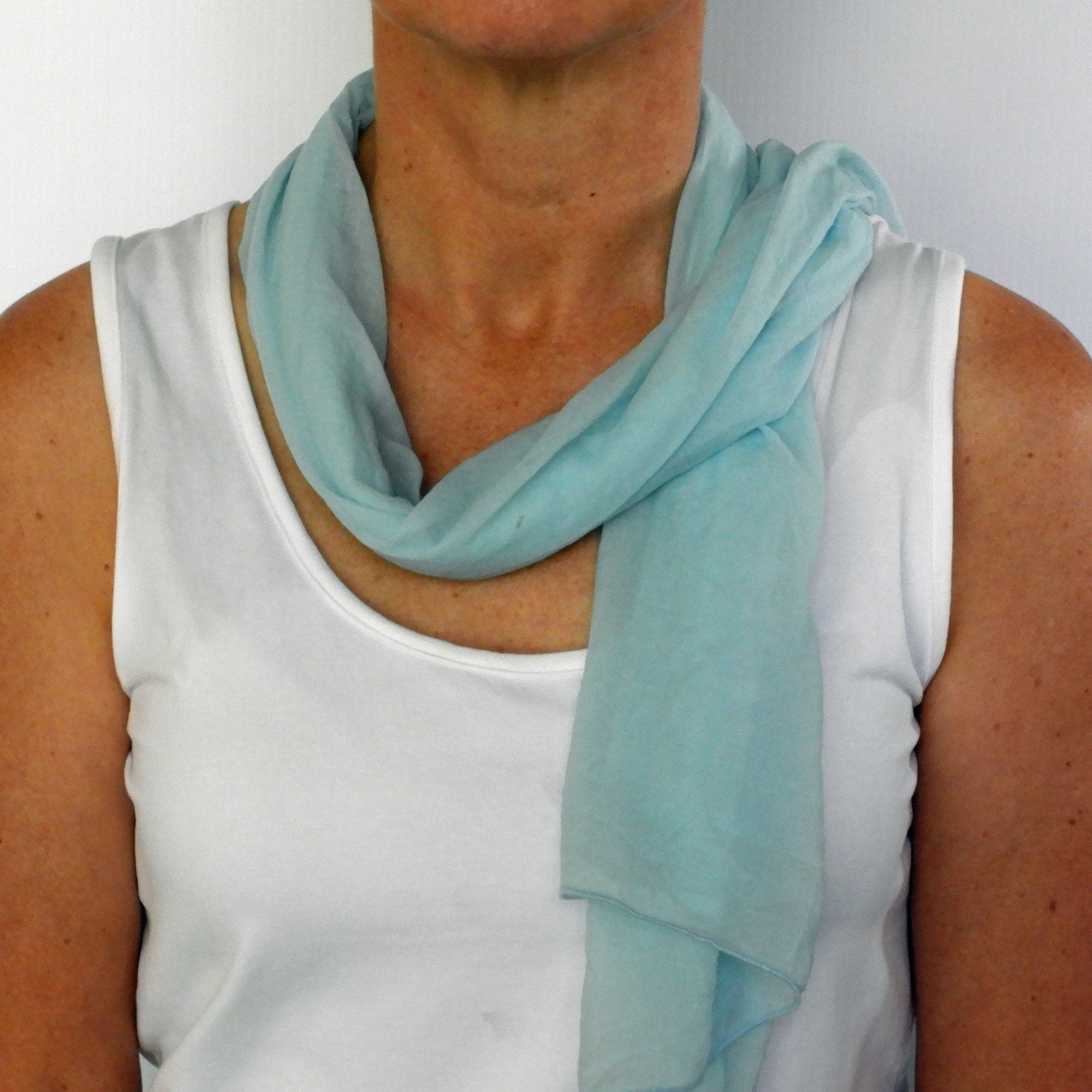 light blue neck-scarf