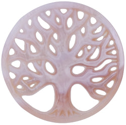 Flat Gemstone Mother of Pearl - Tree of Life, Coin