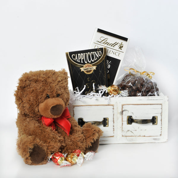 The Wooden Drawer with Chocolates and a Cute Teddy