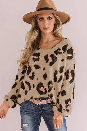 Leopard Print V-neck Puff Sleeve Sweater