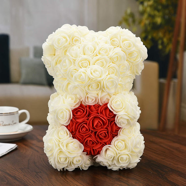 Rose Flower Bear Valentine Gifts White