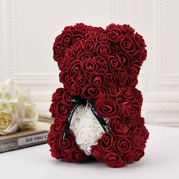 Burgundy Valentines Day Rose Flower Bear Valentine Gifts