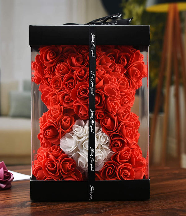 Red Valentines Day Rose Flower Bear Valentine Gifts With Box