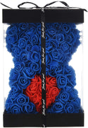 Blue Valentines Day Rose Flower Bear Valentine Gifts With Box