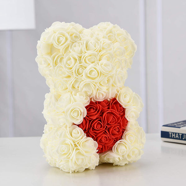 White Valentines Day Rose Flower Bear Valentine Gifts