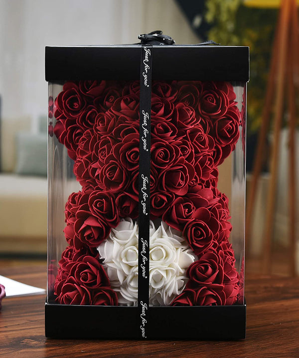 Burgundy Valentines Day Rose Flower Bear Valentine Gifts With Box