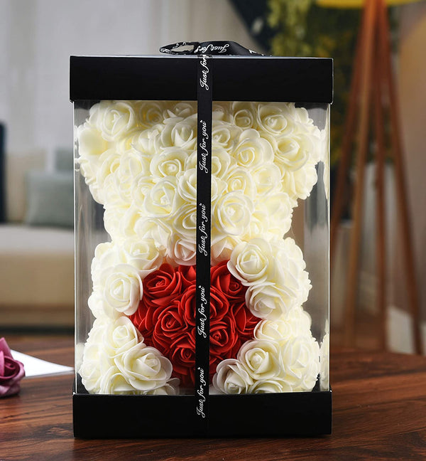 White Valentines Day Rose Flower Bear Valentine Gifts With Box