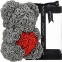 Grey Valentines Day Rose Flower Bear Valentine Gifts With Box