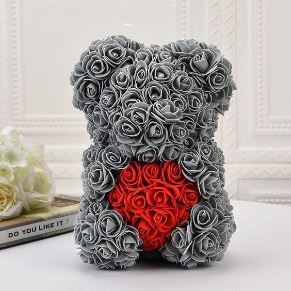 Gray Valentines Day Rose Flower Bear Valentine Gifts