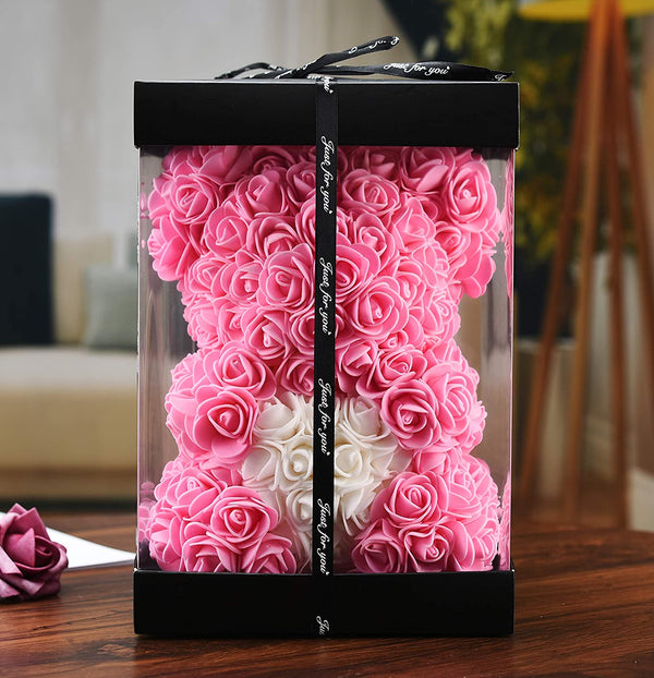 Pink Valentines Day Rose Flower Bear Valentine Gifts With Box