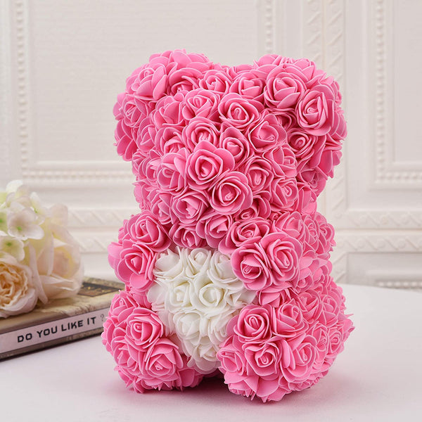 Pink Valentines Day Rose Flower Bear Valentine Gifts