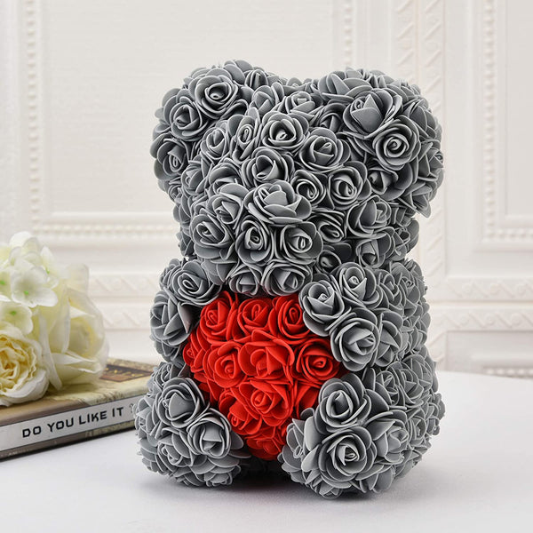 Rose Flower Bear Valentine Gifts Grey