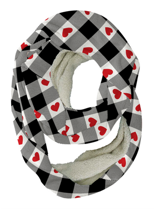 Plaid Hearts Infinity Scarf