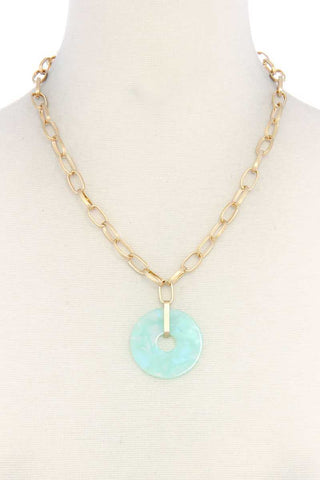 Mint Acetate Circle Pendant Necklace