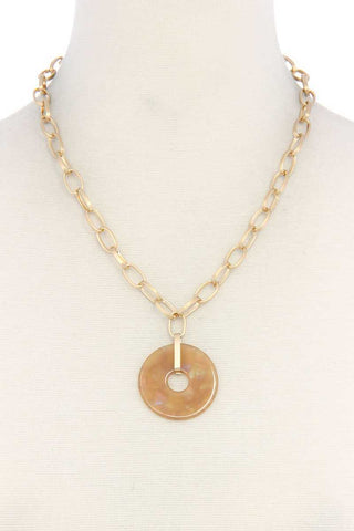 Acetate Circle Pendant Necklace