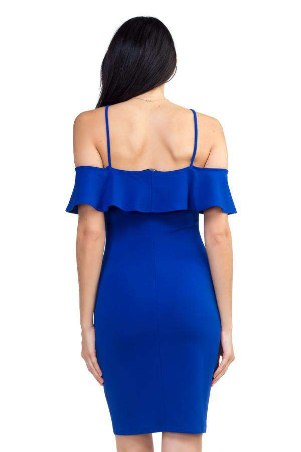 Ruffle Open Shoulder Halter Dress