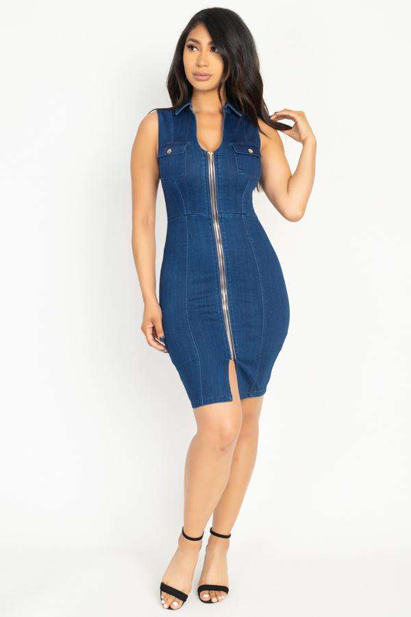 Denim Button Front Mini Dress